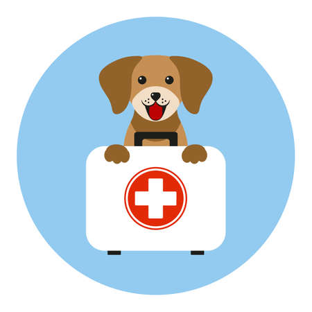 Veterinary emblem dog with a medical suitcase