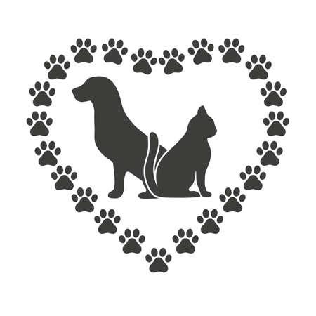 Hundeemblem und Katzentierklinik und Tierheimbehandlung und Tiermedizin Haustiere Gesundheitswesen Liebe und Fürsorge