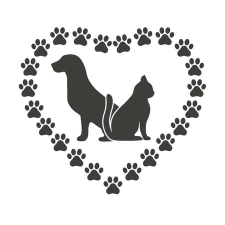 Dog emblem and cat vet clinic and shelter treatment and veterinarian medicine domestic animals healthcare love and care Illustration
