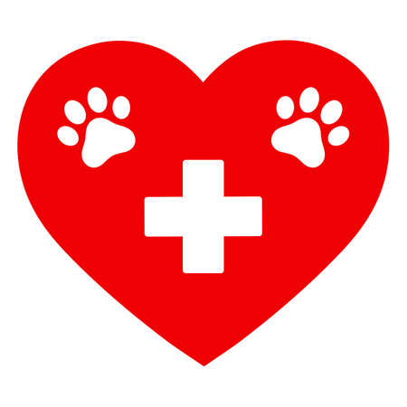 illustration animal paw veterinary emblem with medical cross Ilustracja