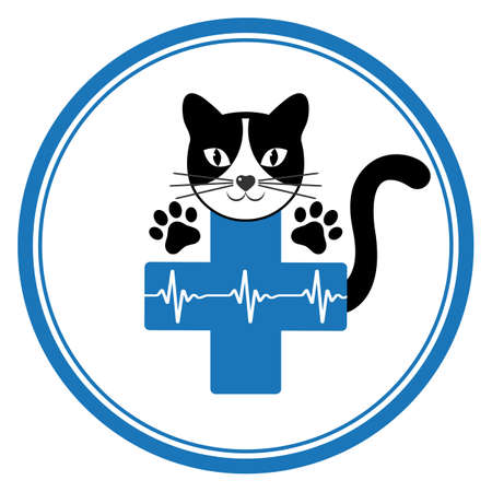 Veterinary emblem cat head with paws and tail on the background