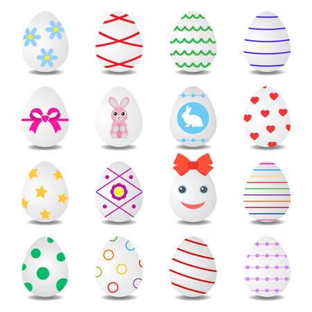 set of multi-colored easter eggs with shadow Ilustracja