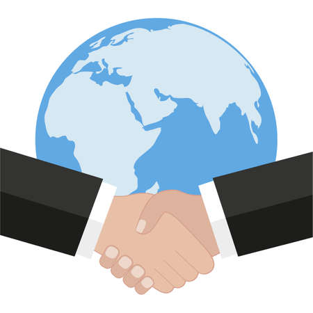 Handshake and globe. World peace, global agreement, international partnership