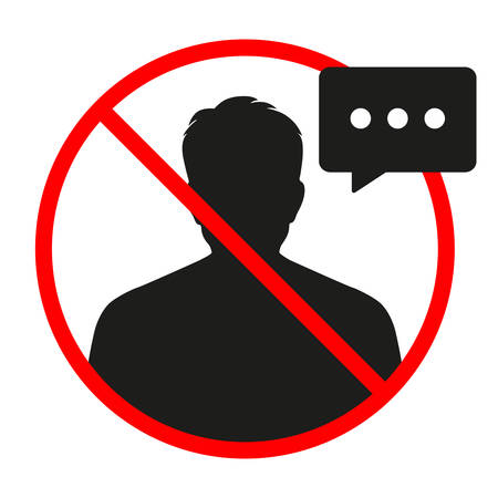 no conversation sign in red crossed out circle on a white background Ilustracja