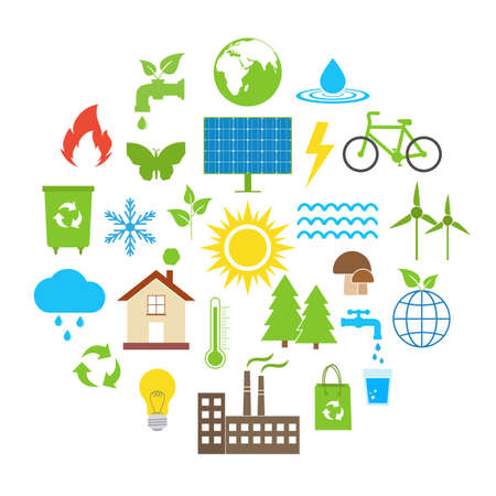 Ecology set of eco technology, renewable energy, environmental protection