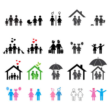 Humans icon set. Family man, woman and children