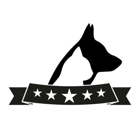 emblem dog and cat with banner for veterinarian and pet shops