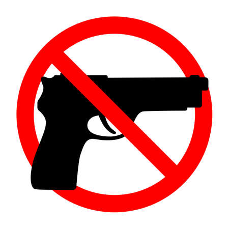 No weapons sign. Black gun in a red crossed circle