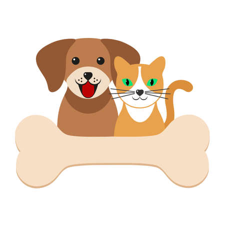 illustration of a cute dog with a cat with a bone Ilustracja