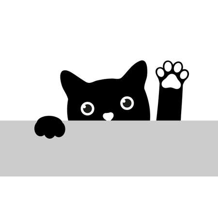 Illustration of a black cat with a paw raised up looking at a table Ilustracja