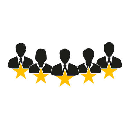 people businessmen. Concept of Feedback consumer or customer review evaluation