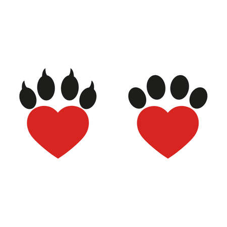 heart shaped dog veterinary paw logo on a white background Ilustracja