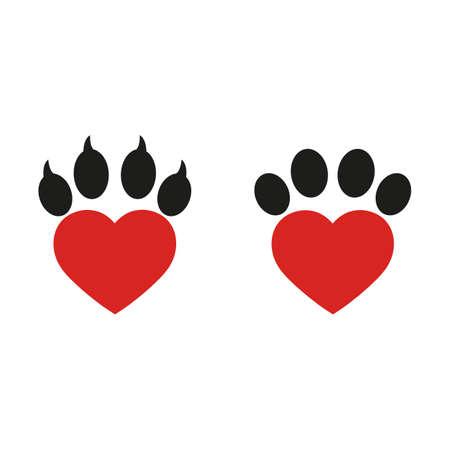 heart shaped dog veterinary paw logo on a white background Illustration