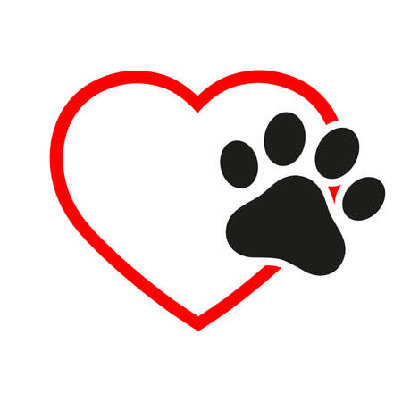 illustration veterinary emblem black dog paw in the heart Ilustracja