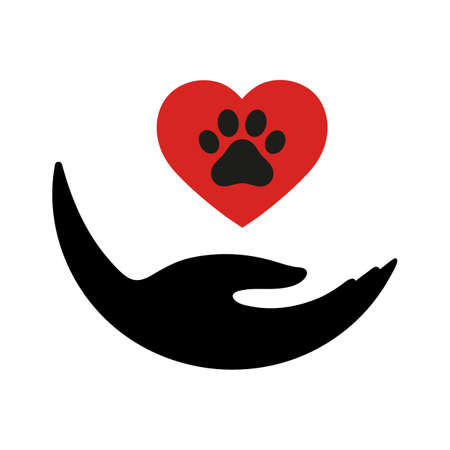 illustration veterinary emblem hand holds heart with dog paw