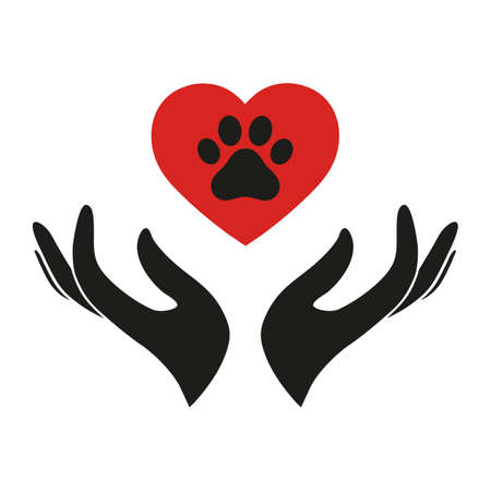 illustration veterinary logo of a hand holding a red heart with a dog paw