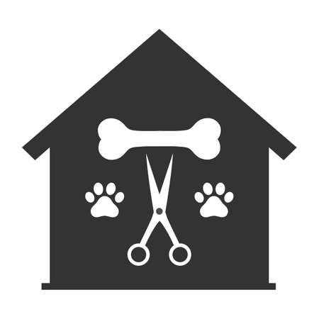 Illustration of a pet grooming logo. Dog beauty salon emblem.