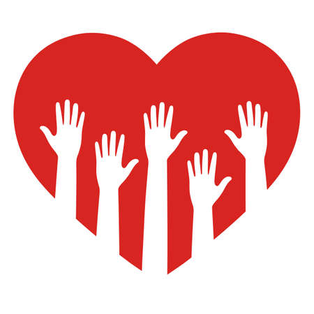 Symbol of volunteering. Heart and hands silhouette isolated Ilustracja