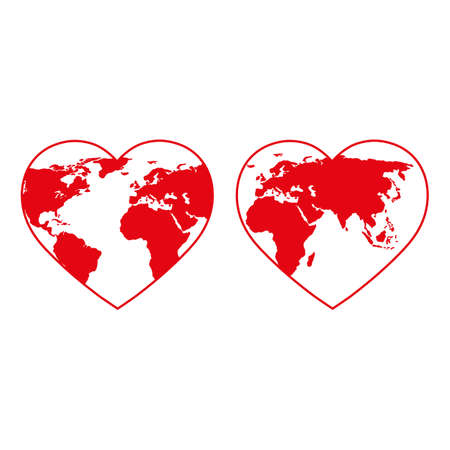 Heart shaped globe illustration. Earth Day emblem.
