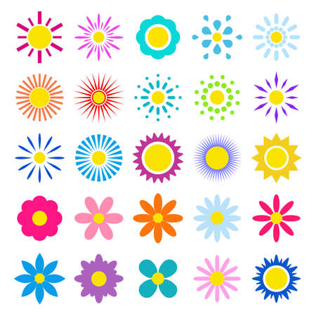 Set of multi-colored summer flowers on a white background.