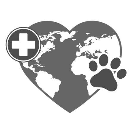 veterinary logo heart shaped globe with medical cross and paw on a white background