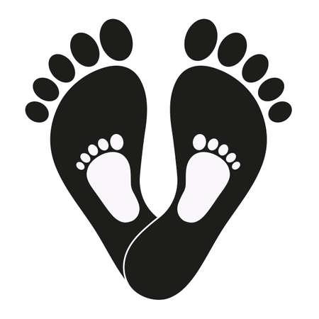 illustration des empreintes de pas d'un enfant et d'un homme sur fond blanc