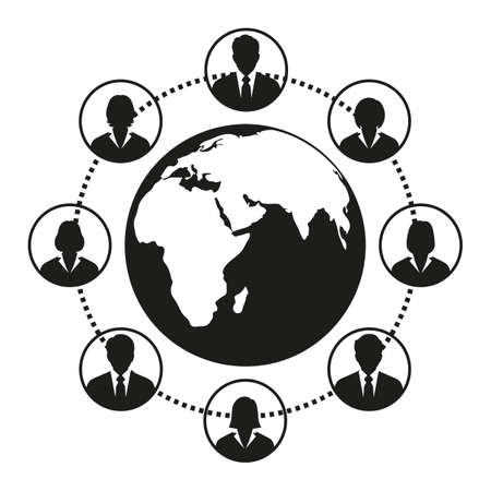Concept of networking between many people from all over the world.