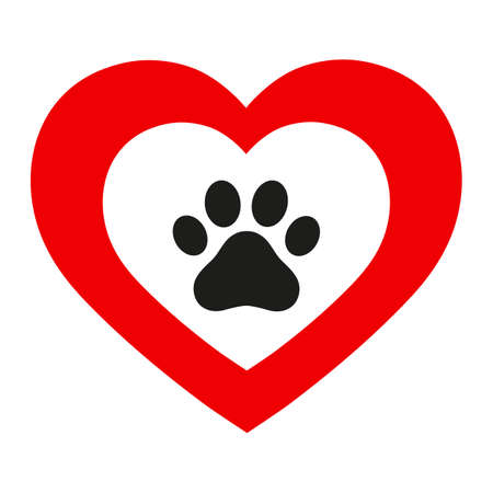veterinary emblem of dog paw in a heart on a white background Ilustracja