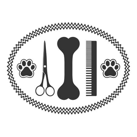 illustration emblem animal grooming with scissors and comb