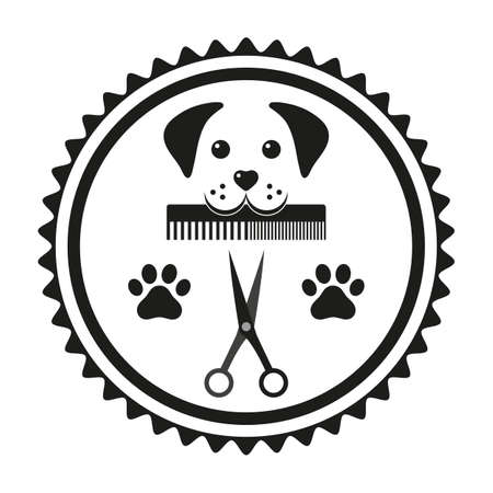 Emblem animal grooming dog head with comb and scissors in a circle Ilustracja