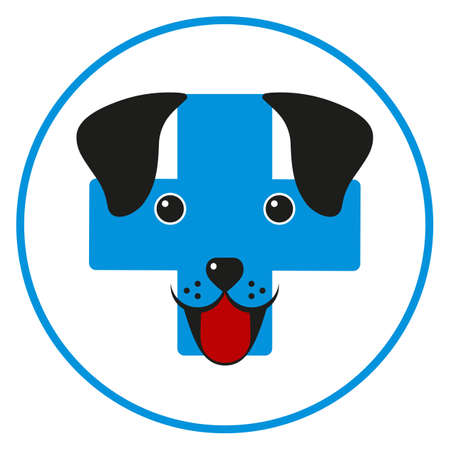 illustration of a cute dog face on a background of a medical cross