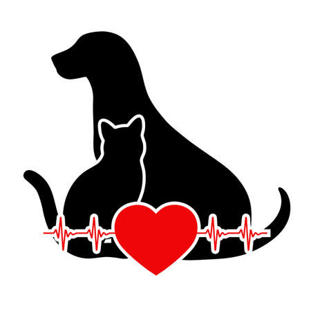 veterinary emblem silhouette of a dog and cat with a heart