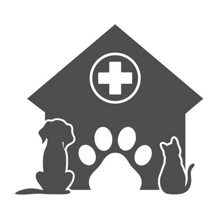 veterinary emblem dog naf one kennel with medical cross and paw Ilustracja