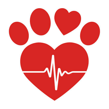 illustration of veterinary dog paw emblem with pulse icon