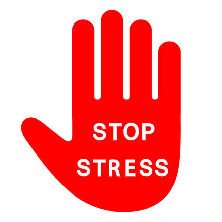 stress stop sign. red hand with white text Ilustracja