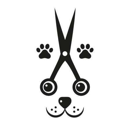 illustration dog grooming fashion dog with scissors and paws Ilustracja