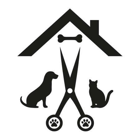 animal grooming salon. illustration dog and cat with scissors