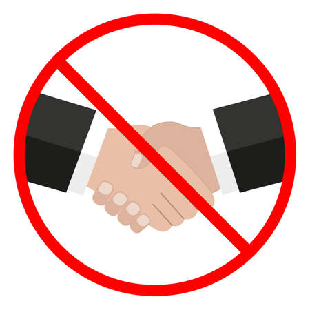 Handshake prohibited sign in a red crossed circle on a white background Ilustracja