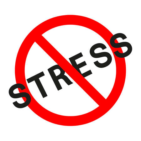illustration of no stress in a red crossed out circle on a white background
