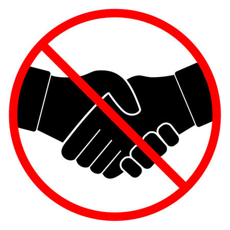 illustration of a prohibition sign no handshake in a red crossed circle Vecteurs