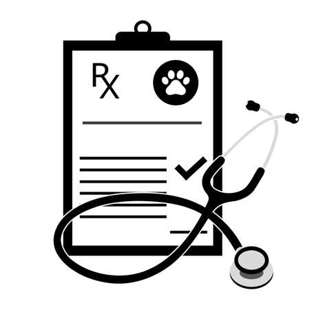 veterinarian prescription with phonendoscope on a white background