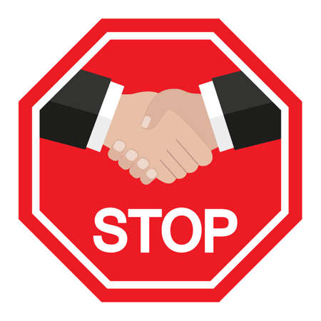 illustration of a forbidden handshake sign with stop text