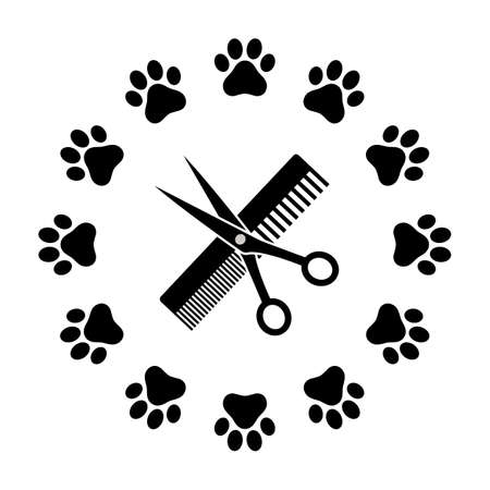 emblem animal haircut comb and scissor in a circle Ilustracja