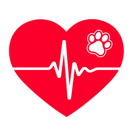 Veterinary emblem heartbeat symbol in heart with dog paw.