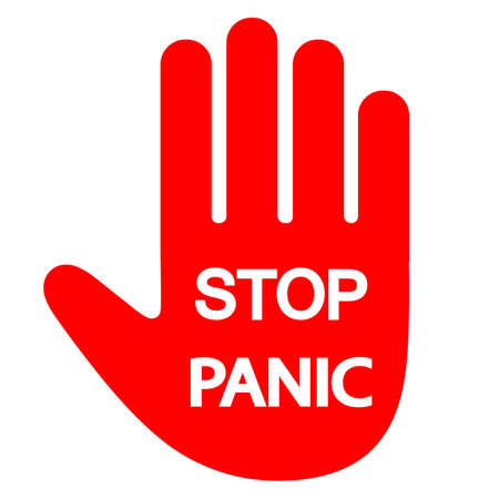 panic stop sign. red warning hand with text