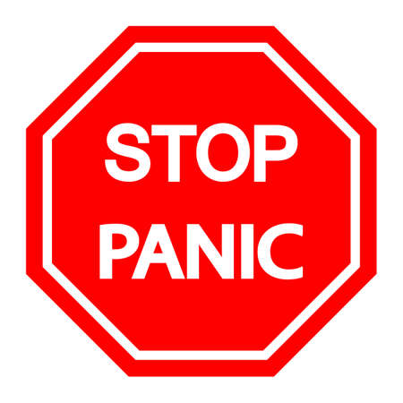 illustration of Stop panic red sign with white text inside.