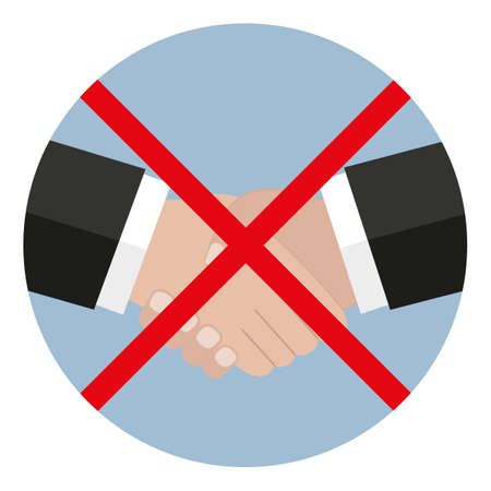 handshake forbidden sign in a gray circle with crossed lines