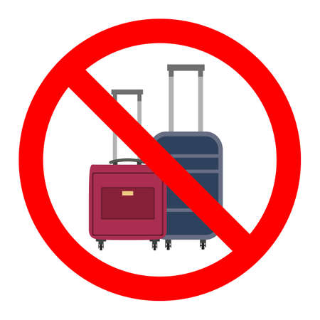 Sign of Ban on luggage. illustration of suitcases in red crossed out circle
