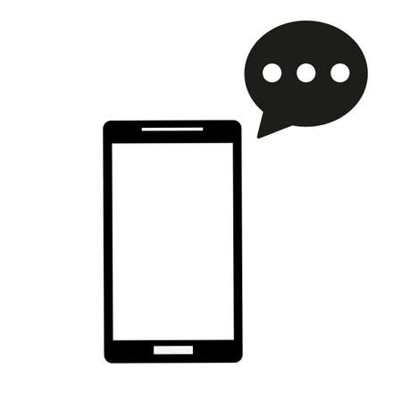 SMS message in smartphone icon on a white background.