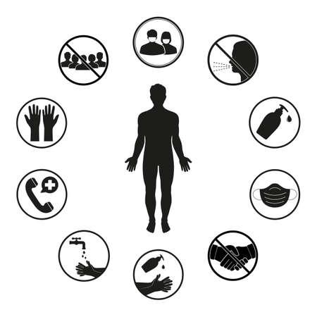 medical emblem prevention of viral infection on a white background Ilustración de vector